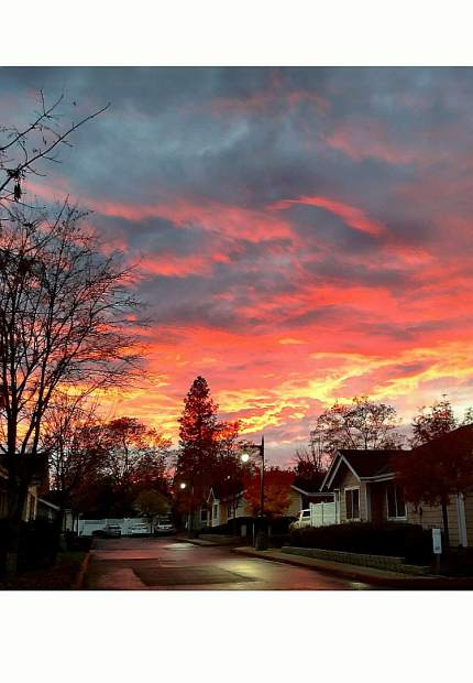 A Thanksgiving sunset taken on East Main Street in Grass Valley's Highland's Court.