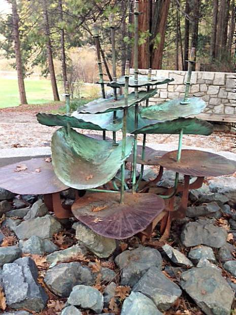 Shot of a metal lily pad fountain at Pioneer Park in Nevada City.