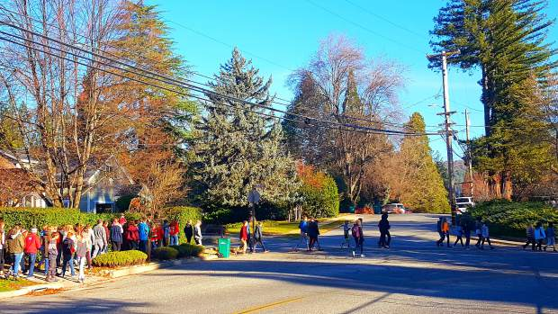 Students from Seven Hills School set on foot to attend the local Scrooge play at the Nevada Theatre in Nevada City on Wednesday morning.