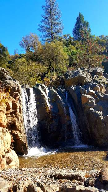 Spring Creek Falls contributes to the South Fork of the Yuba River in a lovely display.
