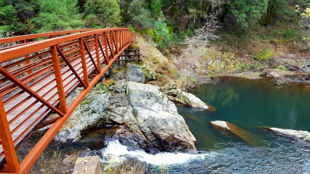 Chinese Bridge spans over Deer Creek in Nevada City.
