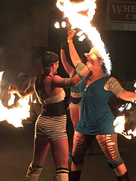 A photo taken of fire dancers in Downtown Nevada City.