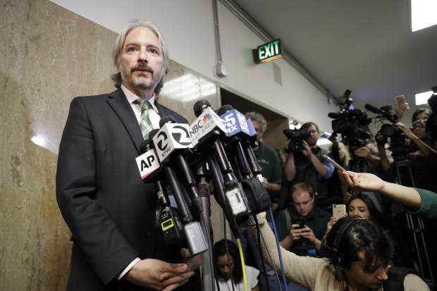 Matt Gonzalez, chief attorney of the San Francisco Public Defenders Office, fields questions after a verdict was reached in the trial of Jose Ines Garcia Zarate Thursday, Nov. 30, 2017, in San Francisco. Garcia Zarate was found not guilty in the killing of Kate Steinle on a San Francisco pier that touched off a national immigration debate two years ago, rejecting possible charges ranging from involuntary manslaughter to first-degree murder. (AP Photo/Marcio Jose Sanchez)