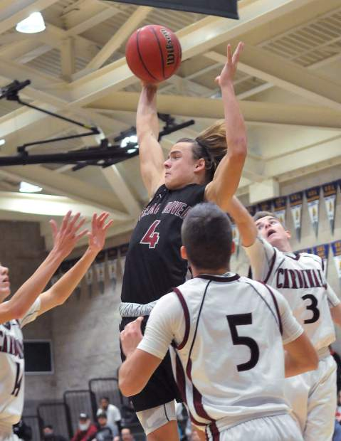 Bear River's Calder Kunde secures an offensive rebound during a game earlier this season.