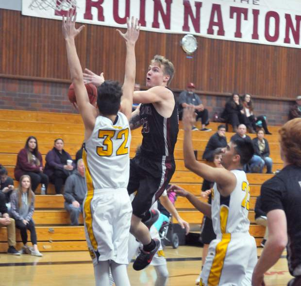 Bear River's Garrett Pratt goes up for two during the Ganskie Invitational. The Bruins will now head to the Adidas Falcon Shootout held at Colfax High School where they will face off with Clear Lake at 3 p.m. Thursday in the opening round.
