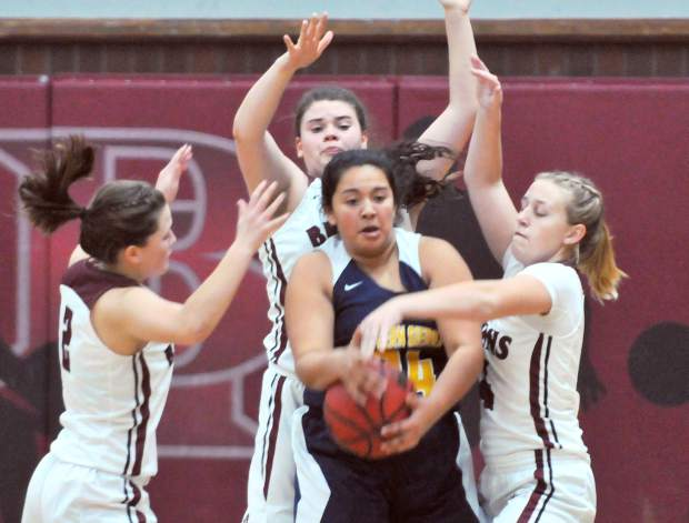 Bear River's defense applies pressure during their 68-34 victory over Western Sierra in the second round of the Ganskie Invitational Basketball Tournament.