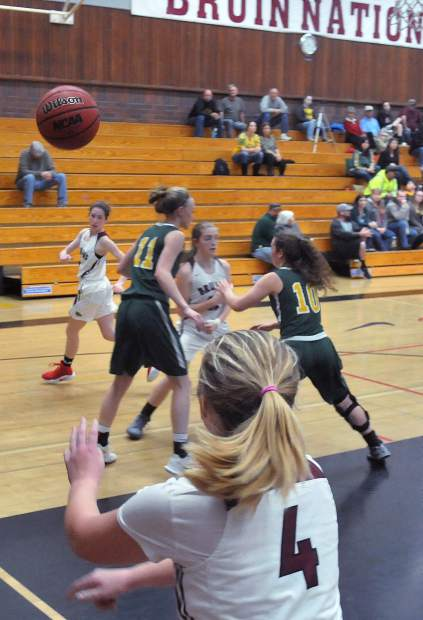 Bear River's Kylee Dresbach-Hill looks to inbound a ball to an open team mate during Wednesday's home game against Placer.