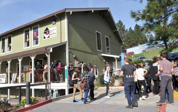 Around 60 kids from Sierra Academy of Expeditionary Learning, checked themselves in to the Hospitality House temporarily Tuesday as the group began their Survive and Thrive expedition.