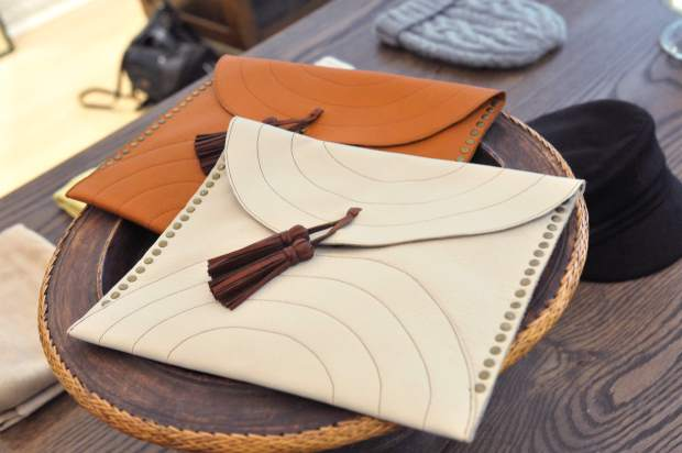 A pair of purses await new owners at the new Nevada City apparel store, Luxe Nomad.