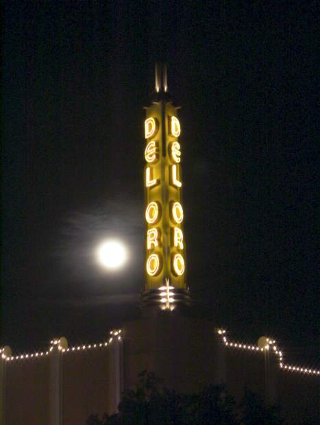 Super moon pictured in downtown Grass Valley next to the Del oro Theatre on New Year's Day.