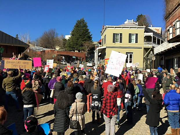 A crowd assembled Saturday in downtown Nevada City in support of the second annual Women's March.
