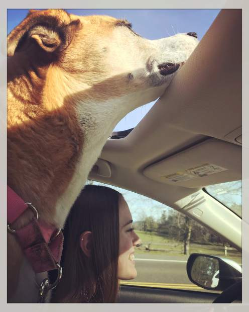 Ginger and Danielle Schnitzius cruising with the sunroof open.