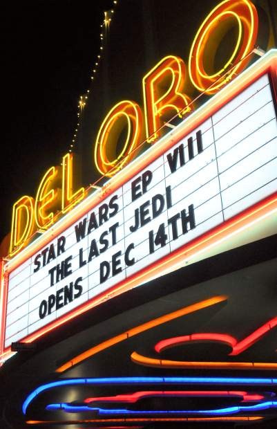 The Del Oro Theater's marquee lets everyone know that Star Wars Episode VIII The Last Jedi is now showing.
