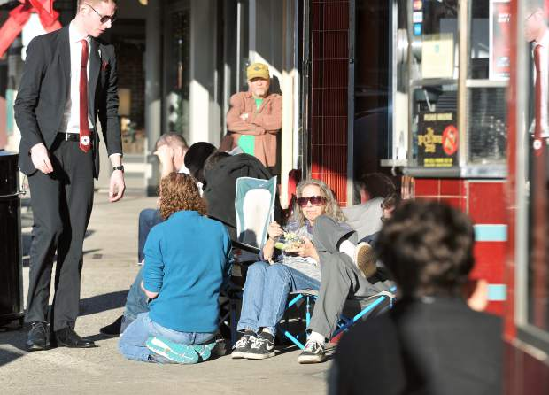 The Last Jedi ticket holders wait in front of the The Del Oro Theater well in advance of Thursday night's initial screening of the latest Star Wars movie.