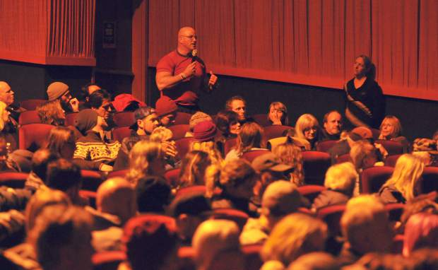 Members of the audience provide statements and offer questions to the panel of filmmakers following Thursday's showing of