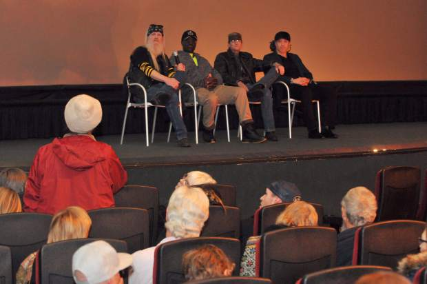 Audience members provide statements and offer questions to the panel of filmmakers following Thursday's showing of