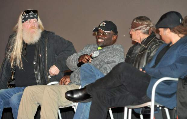 Rob Albee (from left), Vegas Eldridge, Rick Misener, and producer Miles McLeary, take part in a question and answer session Thursday evening after the showing of their film