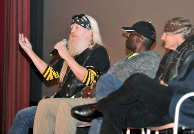 Former prison inmates Rob Albee (from left), Vegas Eldridge, and Rick Misener, take part in a question and answer session Thursday evening after the showing of their film