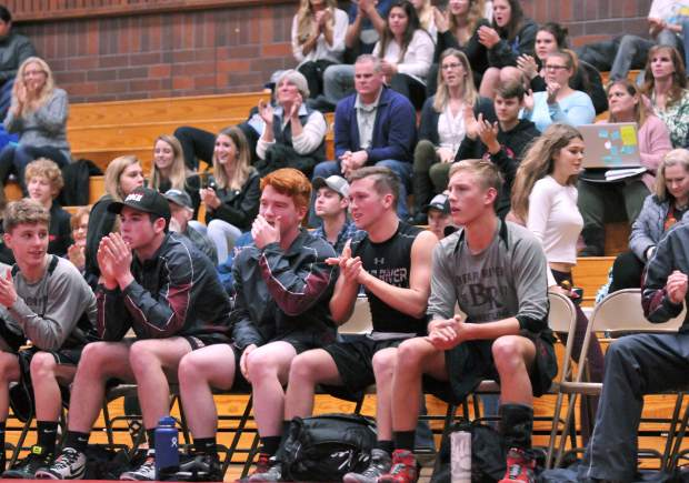 The Bear River wrestlers and fans cheer on during Wednesday's matches.