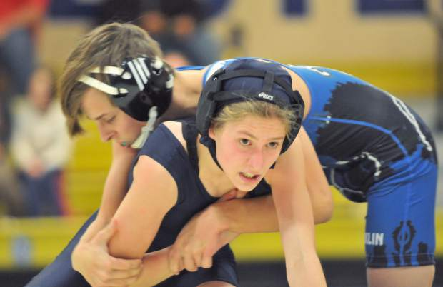Nevada Union's Mackenzie Morgangave her Rocklin opponent all he could handle during a Sierra Foothill League bout Wednesday night at Nevada Union.