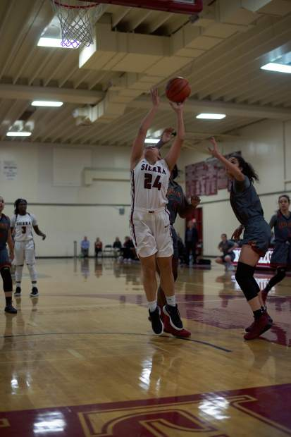 In this file photo, Aycee Willis, a 2017 Nevada Union graduate, competes for Sierra College during a game earlier this season. On Saturday, Willis helped the Wolverines to a second round playoff win over Solano Community College. Willis started the game, scored six points and pulled down three rebounds in the win.