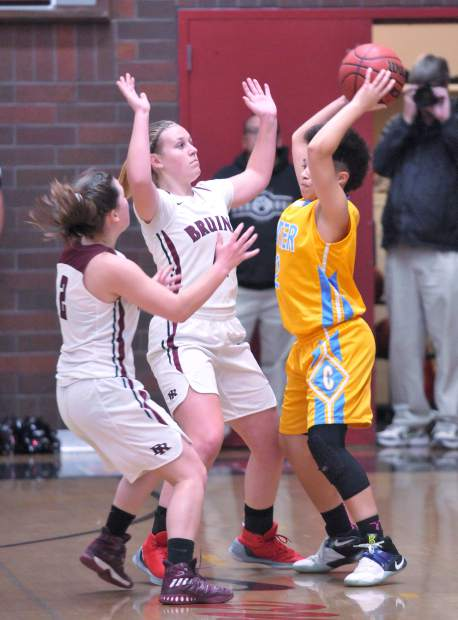 The lady Bruins defense puts the pressure on the Center Cougars offense during Tuesday's league matchup at Bear River High School.