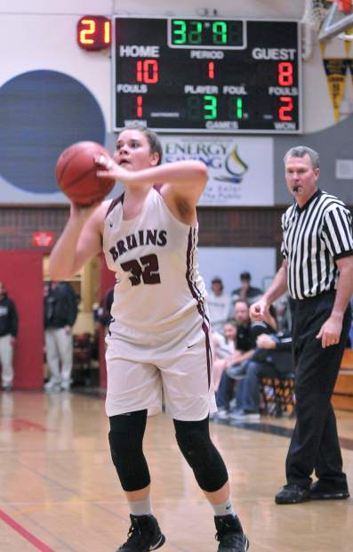 Bear River senior Mallory Rath readies to fire a shot on basket early during the lady Bruins' league matchup against the Center Cougars.