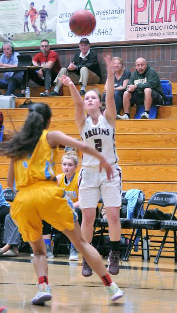 Bear River's Kayla Toft fires off a three point shot from behind the arc during Tuesday's league win over the Center High School Cougars.