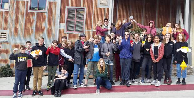 Yuba River Charter School eigth-graders with teacher Kate Haight and Tom Taylor, Nevada Theater manager.