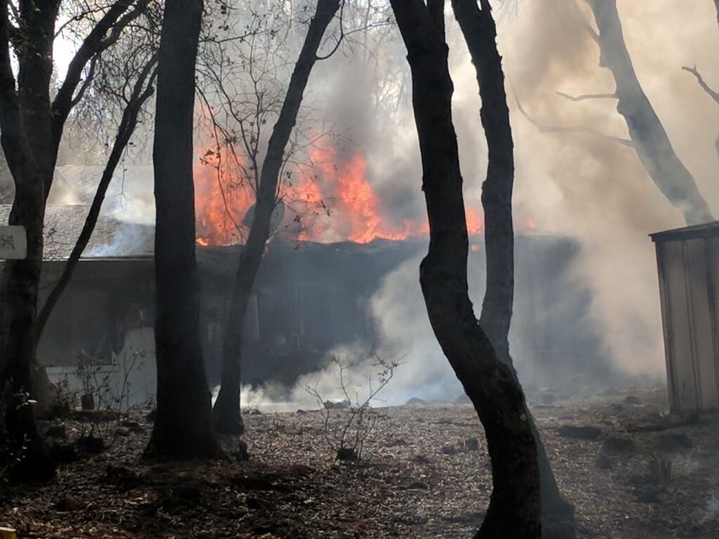 A structure caught fire in Rough and Ready Tuesday afternoon.