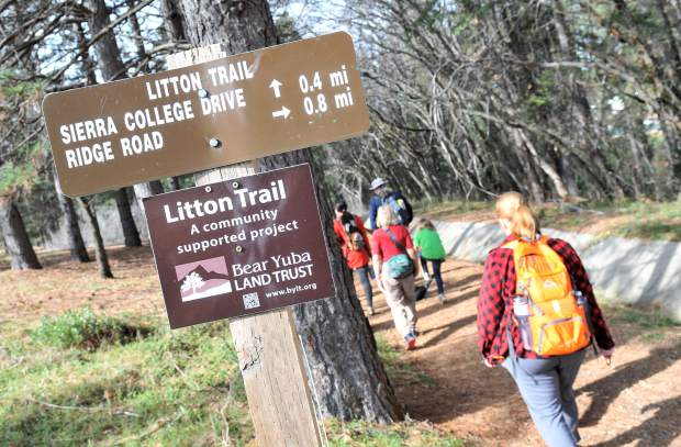 Hikers take to the Litton Trail in Grass Valley during Saturday's junior conservationist hike sponsored by the Bear Yuba Land Trust.