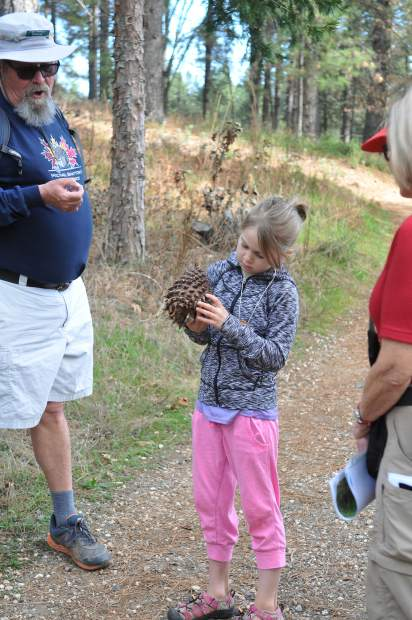 McKinley Adams gets a close look at one of the pinecones discussed along the Litton Trail during Saturday's junior conservationist hike.