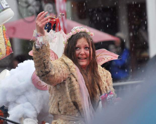 Nevada City and Grass Valley received a small rain and hail storm during the annual Nevada City Mardi Gras Parade, which kept on according to plan.