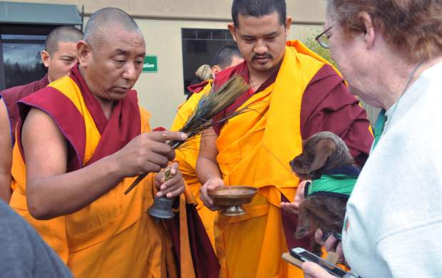 About 30 or so people and their furry four legged friends, showed up to the parking lot of the Animal Save in Grass Valley Sunday to receive a blessing from a group of visiting monks from the Tibetan Refugee Settlement in Southern India.