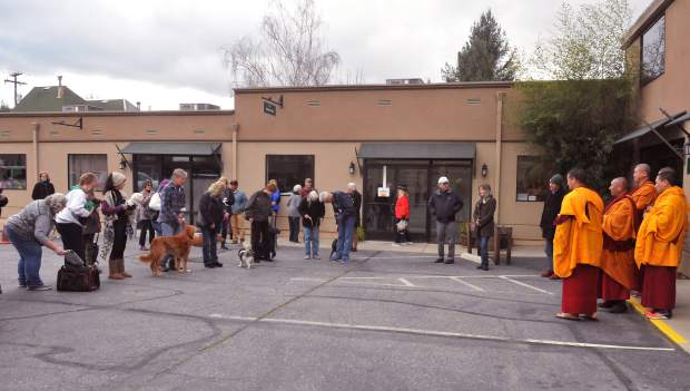Folks and their furry friends gather around for a chance to have the visiting Tibetan monks bless them Sunday at Animal Save in Grass Valley.