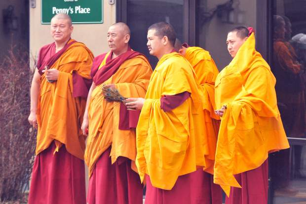 The visiting monks ready to administer their blessing upon the animals of Grass Valley as well as for the facilities and other animals at the Animal Save.