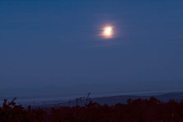 Photo of a lunar eclipse, which also happened to be a Blue moon and a Super moon submitted by a member of the