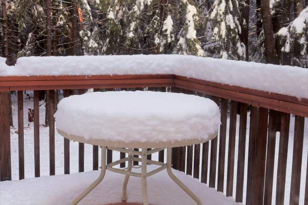 A local patio table out on the deck after snow fall.