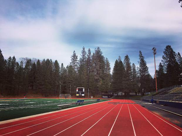 Day photo of the Nevada Union High School track.