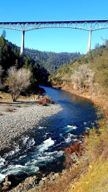The Foresthill Bridge/Auburn Bridge spans over the North Fork of the American River in Auburn.