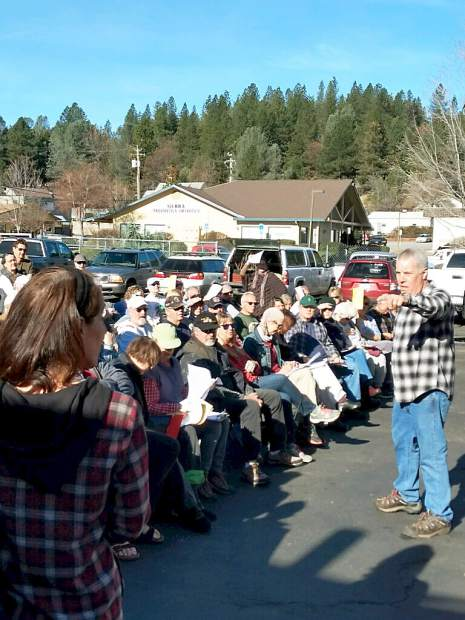 Emil Baldoni of Weiss Brothers Nursery doing a fruit tree and rose pruning seminar to a standing room only audience at the nursery on Maltman Drive on Saturday.