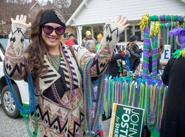 Maryanna Giuliani celebrating Mardi Gras at this year's parade in Downtown Nevada City.
