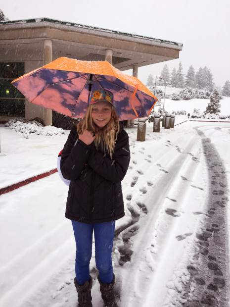 Isabella Ingalls enjoying the snow at the Sierra Memorial Hospital parking lot.