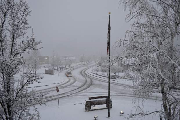 A shot of Sutton Way in Grass Valley Monday morning.