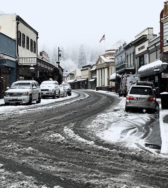 Shot of downtown Grass Valley after Monday's snowfall.