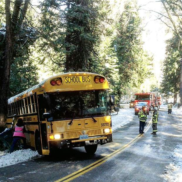 School bus accident on Meadow Drive Tuesday morning. The bus slid into a tree and a fence post. Peardale Chicago Park and Ophir Hill fire departments came to the scene.