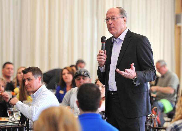 Former Telestream CEO Dan Castles, gives the keynote speech during Wednesday's Best Of Nevada County awards luncheon.