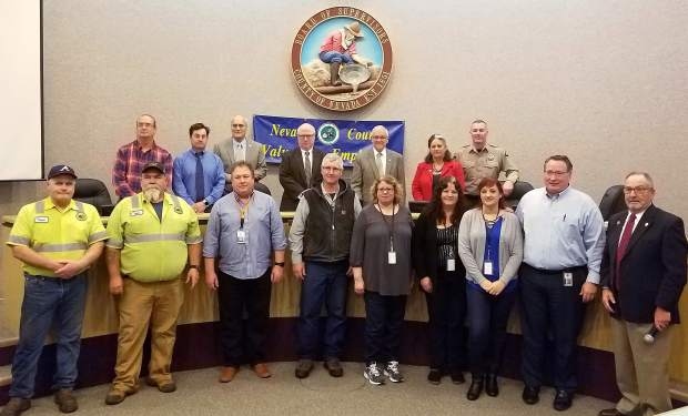 Nevada County honored employees who have 20 years of employment on Tuesday at the Board of Supervisors meeting.