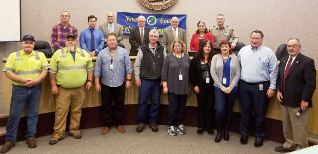 Nevada County on Tuesday honored employees achieving 20 years in service, including (top row, from left): John Denboske (Sheriff dispatcher), Michael Sypnicki (Probation program manager), Dan Miller, Richard Anderson, Ed Scofield, and Heidi Hall (County supervisors), William Smethers (Sheriff lieutenant); and (bottom row, from left: Robert Hoskin (Road maintenance worker supervisor), James Nunley (Road maintenance worker supervisor), Steven Humes (Network system analyst), David Zerbel (Facilities maintenance supervisor), Annette LeFrancois (HHSA administrative assistant), Kimberly Cuisinot (Behavioral Health therapist), Christina Federmeyer (Behavioral Health administrative assistant), Scott McLeran (Deputy county counsel), and Hank Weston (County supervisor).
