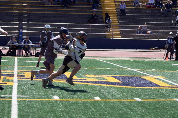 Gold Country Stampede attackman Drew Heaps (7) led his team in goals scored in wins over Chico and Sacramento over the weekend.